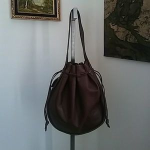 Vintage leather large hobo bag